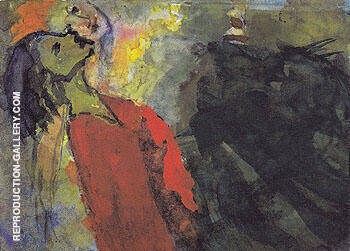 Figures Craning their Necks By Emil Nolde
