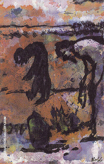 Figures Bending Over By Emil Nolde - Oil Paintings & Art Reproductions - Reproduction Gallery