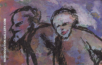 Old Couple in Dark Light Twilight By Emil Nolde Replica Paintings on Canvas - Reproduction Gallery