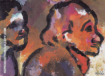 Two Heads in Profile By Emil Nolde Replica Paintings on Canvas - Reproduction Gallery