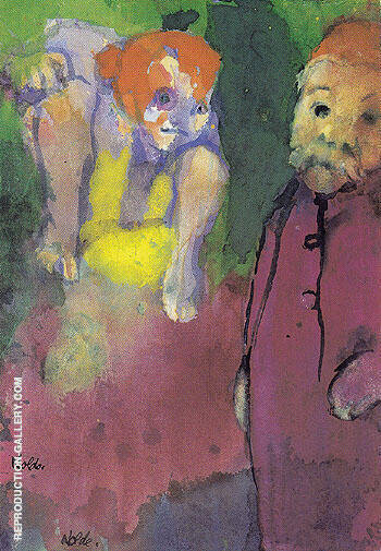 Old Man and Wood Gnome By Emil Nolde - Oil Paintings & Art Reproductions - Reproduction Gallery