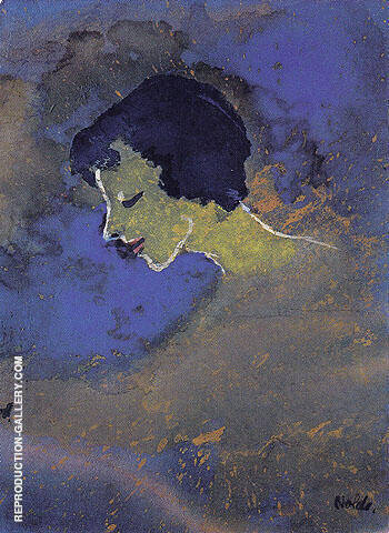 Young Woman in Profile By Emil Nolde