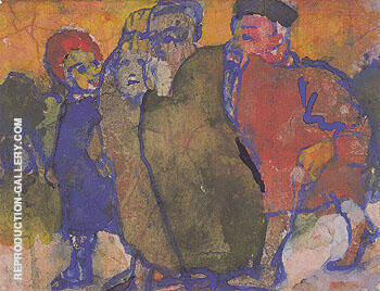 Group of People By Emil Nolde - Oil Paintings & Art Reproductions - Reproduction Gallery