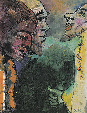 Couple and Goateed Man in Profile By Emil Nolde