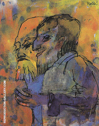 Two Bearded Old Men in Profile By Emil Nolde