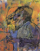 Two Bearded Old Men in Profile By Emil Nolde