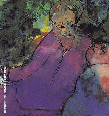 Grotesque Couple By Emil Nolde Replica Paintings on Canvas - Reproduction Gallery