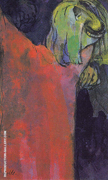 Green Head above Red Cloak Painting By Emil Nolde - Reproduction Gallery