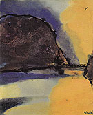 Brown Mountain on a Lake By Emil Nolde