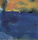 Blue Sea Sailboat and Two Steamships By Emil Nolde