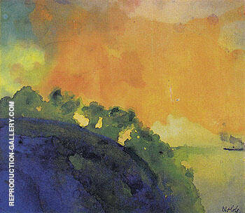 Reproduction of Mountain Slope over the Sea by Emil Nolde | Oil Painting Replica On CanvasReproduction Gallery