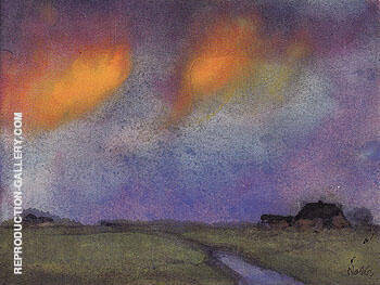 Marshy Landscape under the Evening Sky By Emil Nolde Replica Paintings on Canvas - Reproduction Gallery