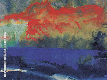 Blue Sea and Red Clouds By Emil Nolde - Oil Paintings & Art Reproductions - Reproduction Gallery
