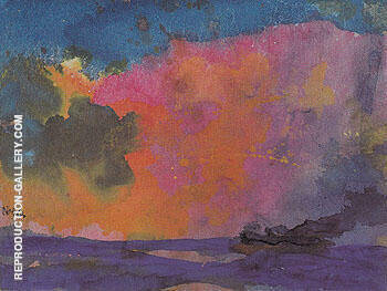 Sea with Colourful Sky Painting By Emil Nolde - Reproduction Gallery