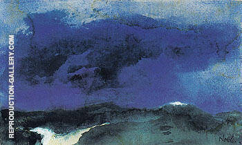 Green Sea with Blue Cloud Painting By Emil Nolde - Reproduction Gallery