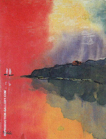 Seacoast Red Sky Two White Sails By Emil Nolde Replica Paintings on Canvas - Reproduction Gallery