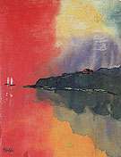 Seacoast Red Sky Two White Sails By Emil Nolde