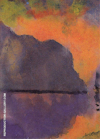 Cliff by the Sea in Evening Light By Emil Nolde