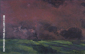 Green Sea under Reddish brown Sky Two Steamers By Emil Nolde