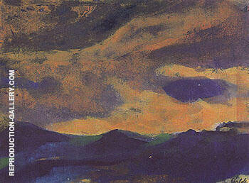Reproduction of Dark Sea with Brown Sky by Emil Nolde | Oil Painting Replica On CanvasReproduction Gallery