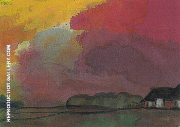 Farmstead under Red Evening Sky By Emil Nolde