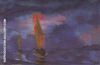 Blue Sea Two Brown Sails By Emil Nolde - Oil Paintings & Art Reproductions - Reproduction Gallery