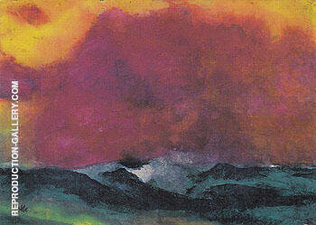 Sea with Red Sky By Emil Nolde