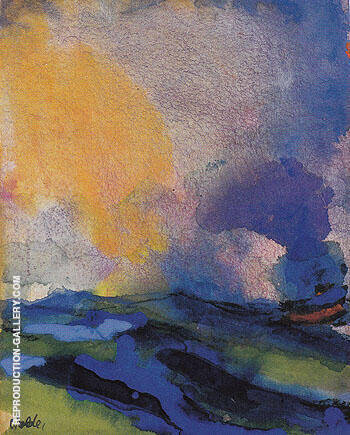 Blue green Sea with Steamer Painting By Emil Nolde - Reproduction Gallery