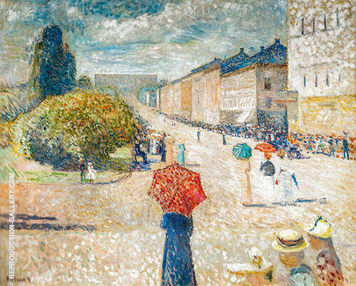 Spring Day on Karl Johan 1890 By Edvard Munch