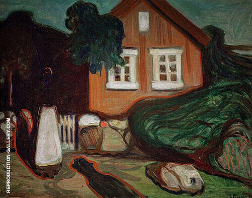 House in Moonlight 1895 By Edvard Munch - Oil Paintings & Art Reproductions - Reproduction Gallery