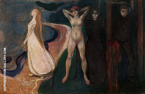 Reproduction of The Three Stages of Woman Sphinx c1894 by Edvard Munch | Oil Painting Replica On CanvasReproduction Gallery