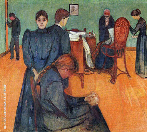 Death in The Sick Room c1893 Painting By Edvard Munch