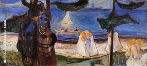 Summer Day from The Linda Frieze c1904 By Edvard Munch Replica Paintings on Canvas - Reproduction Gallery