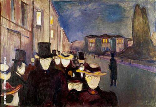 Evening on Karl Johan 1892 By Edvard Munch