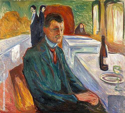 Self Portrait with Wine Bottle 1906 By Edvard Munch