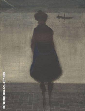 Femme de Pecheur Face Au Bassin By Leon Spilliaert Replica Paintings on Canvas - Reproduction Gallery