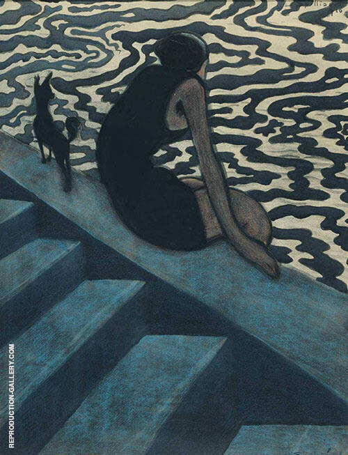 The Bather 1910 By Leon Spilliaert Replica Paintings on Canvas - Reproduction Gallery