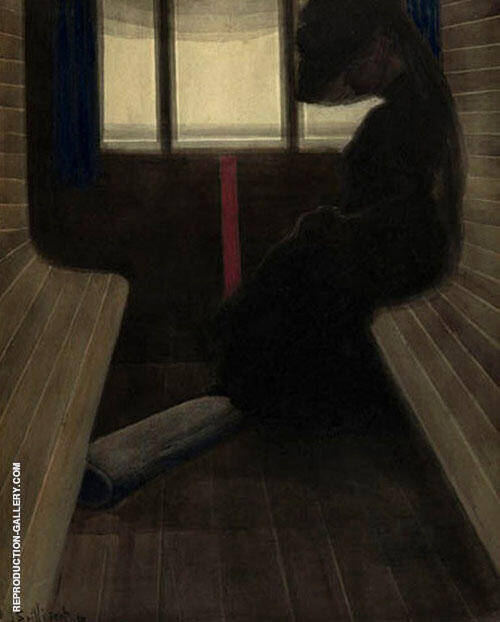 La Dame Dans Le Train by Leon Spilliaert | Oil Painting Reproduction Replica On Canvas - Reproduction Gallery