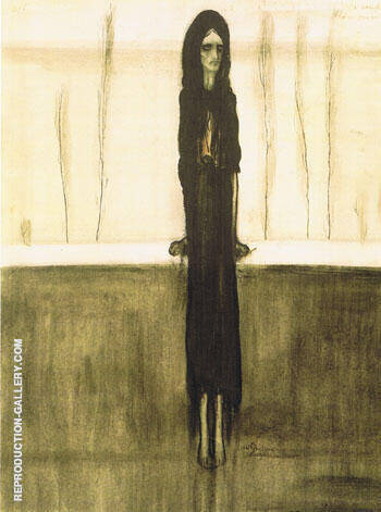 L'Attente Femme Dans Une Attitude Tragique Dans Un Paysage Austere By Leon Spilliaert Replica Paintings on Canvas - Reproduction Gallery