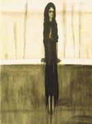 L'Attente Femme Dans Une Attitude Tragique Dans Un Paysage Austere By Leon Spilliaert