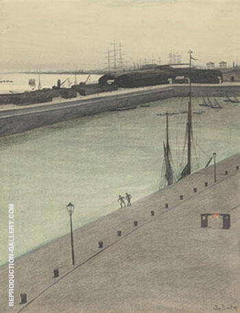 Port dOstende Quai Avec Deux Figures Painting By Leon Spilliaert