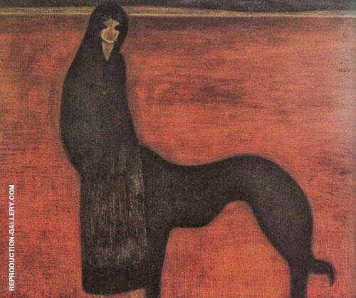 Young Woman and Dog By Leon Spilliaert