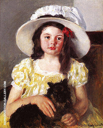 Francoise with a Black Dog c1880 By Mary Cassatt - Oil Paintings & Art Reproductions - Reproduction Gallery