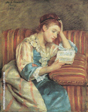 Mrs Duffee Seated on a Striped Sofa Reading 1876 By Mary Cassatt