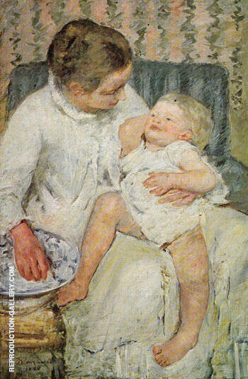 Reproduction of Mother About to Wash her Sleepy Child 1880 by Mary Cassatt | Oil Painting Replica On CanvasReproduction Gallery