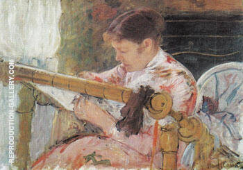 Reproduction of Lydia Working at a Tapestry Frame c1881 by Mary Cassatt | Oil Painting Replica On CanvasReproduction Gallery