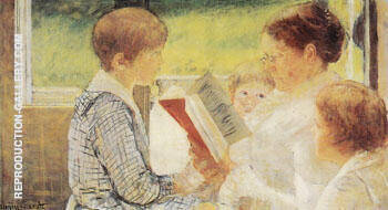 Reading 1880 By Mary Cassatt - Oil Paintings & Art Reproductions - Reproduction Gallery