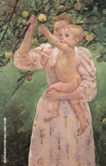 Reproduction of Child Picking a Fruit 1893 by Mary Cassatt | Oil Painting Replica On CanvasReproduction Gallery