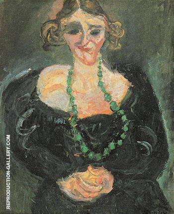 Woman with Green Necklace c1927 012 Large By Chaim Soutine Replica Paintings on Canvas - Reproduction Gallery