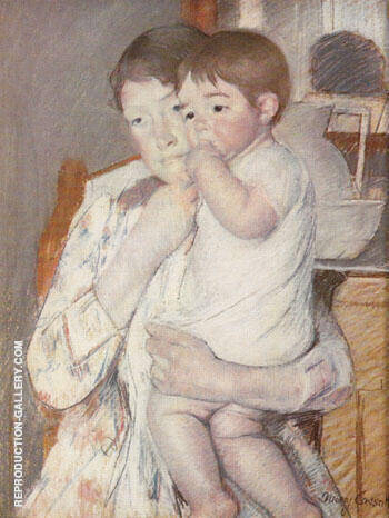 Reproduction of Baby on his Mothers Arm Sucking his Finger 1889 by Mary Cassatt | Oil Painting Replica On CanvasReproduction Gallery